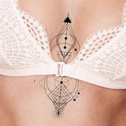 Geometric Abstract Arrow Sternum Tattoo Ideas for Women - www.MyBodiArt.com #tattoo