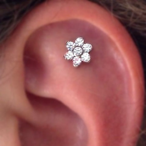 Cute Simple Crystal Flower Cartilage Helix Ear Piercing Jewelry Ideas for Women -  lindas ideas para perforar orejas - www.MyBodiArt.com