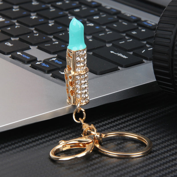 Cute Crystal Lipstick Makeup Charm Keychain Keyring Key Fob Fashion Accessories Jewelry for Purse Bag - www.MyBodiArt.co