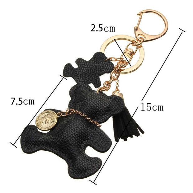 Cute Checkered Double Teddy Bear Keychain with Tassel Keyring Key Fob Fashion Accessories Jewelry Purse Bag Black - www.MyBodiArt.com