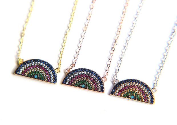 Cute Simple Rainbow Gemstone Crystal Pendant Statement Necklace in Gold, Silver, Rose Gold Fashion Jewelry for Women for Teen Girls - lindo collar de arco iris - www.MyBodiArt.com