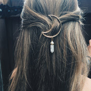 Everyday Cute Long Wavy Hair Styles Half Updo for School with Moon Gemstone Hair Barette Clip - www.MyBodiArt.com