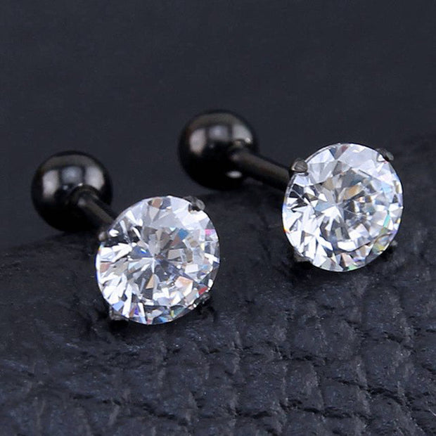 Beautiful Simple Crystal Cartilage Helix Tragus Conch Earring 16G Silver Stud Ear Piercing Black Clear Crystals  - www.MyBodiArt.com