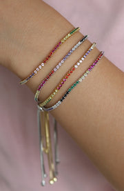 Cute Dainty Rainbow Gemstone Crystal Pave Tennis Bracelet in Gold Layered Stacked Statement Fashion Jewelry for Women for Teen Girls -linda pulsera de arcoiris -  www.MyBodiArt.com