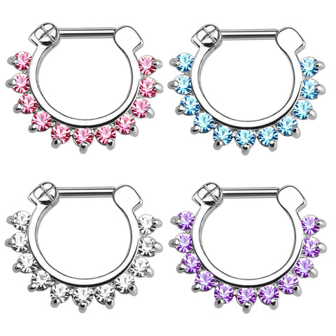 Brice Swarovski Crystal Septum Daith Clicker in Silver Ring Hoop Earring Jewelry 16G in Silver  - www.MyBodiArt.com