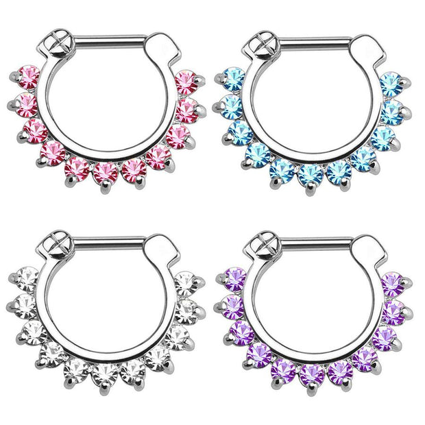 Crystal Septum Piercing Jewelry for Septum Ring, Earring for Daith Clicker at MyBodiArt.com