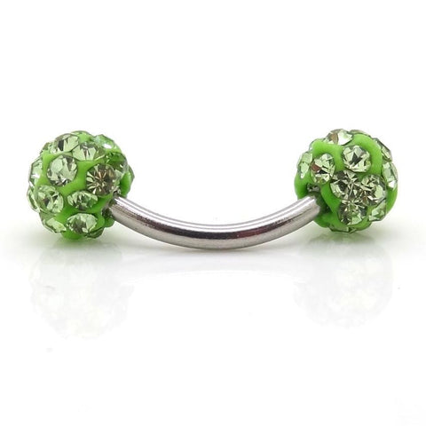 Green Lola Ferido Crystal Ball 16G Curved Barbell Piercing - Eyebrow Ring, Lip Piercing, Rook Earring, Daith Barbell at MyBodiArt.com