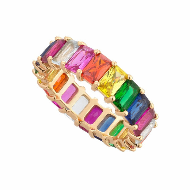 Rainbow Baguette Ring - Cute Chunky Gemstone Crystal Stone Pave Multiple Stacking Stackable Band Rings Statement Fashion Jewelry for Women for Teens in Gold - lindos anillos arcoiris gruesos - www.MyBodiArt.com