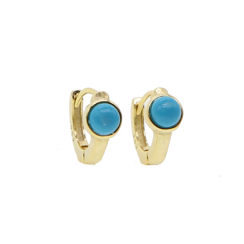 Boho Ear Piercing Ideas for Women Cartilage Helix Gold Turquoise Small Hugge Hoop Earrings Ring Jewelry - bohemia turquesa oreja piercing aretes de aro pequeño anillo en oro - www.MyBodiArt.com #earrings