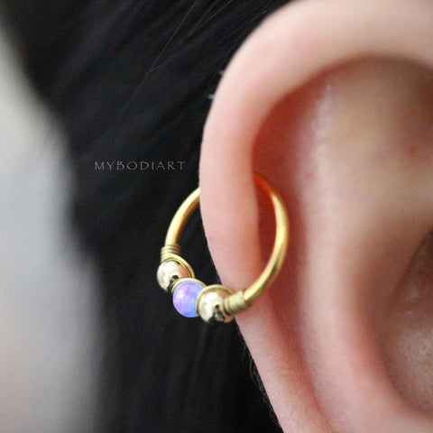 Cute Purple Opal Cartilage Gold Hoop Ear Piercing Earring Ring 16G - ideas de piercing de oreja para las mujeres - www.MyBodiArt.com