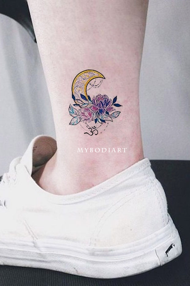 Cute Small Watercolor Moon Chandelier Ankle Tattoo Ideas for Women - www.MyBodiArt.com