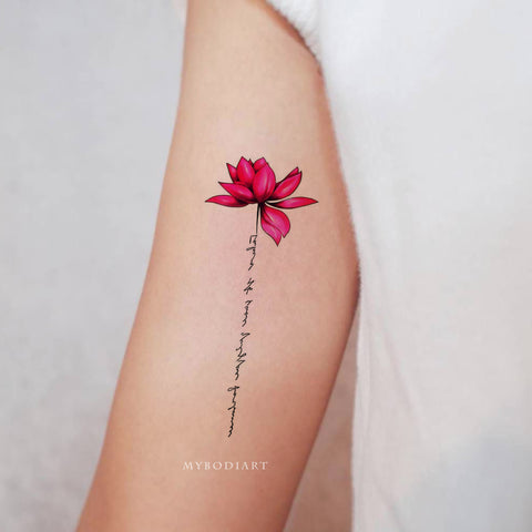 Female Watercolor Pink Lotus Script Bicep Arm Tattoo Ideas for Women -  Ideas de tatuaje de brazo de acuarela de loto para mujeres - www.MyBodiArt.com #tattoos