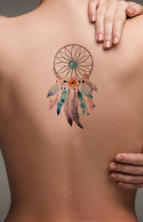 ab719e61d8f39 Watercolor Dreamcatcher Back Tattoo ideas for Women - Popular Feminine  Beautiful Small Spine Tat for Teenagers
