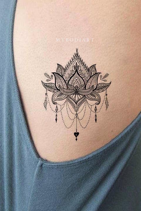 Small Rib Side Temporary Tattoo Ideas for Women Lace Mandala Lotus Chandelier Black Tribal Boho Tat - www.MyBodiArt.com #tattoos