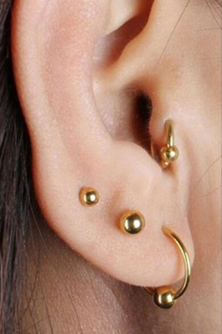 Cute Simple Metal Ball Cartilage Helix Ear Piercing Jewelry Ideas for Women - www.MyBodiArt.com