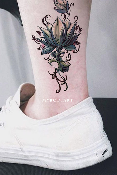 Lotus Ankle Tattoo Ideas for Woman Tribal Boho Floral Flower Side Tat -  tatuaje de tobillo de loto - www.MyBodiArt.com