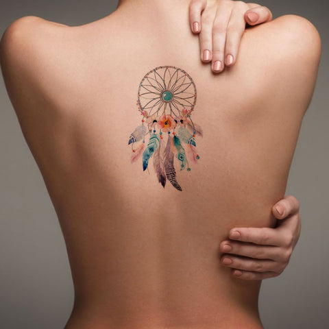 Watercolor Dreamcatcher Back Tattoo ideas for Women - Popular Feminine Beautiful Small Spine Tat for Teenagers -  Pluma de acuarela Ideas de tatuaje de espalda para mujeres - www.MyBodiArt.com