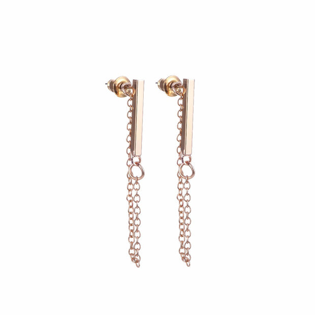 Hana Minimalist Bar & Drop Chain Ear Jacket Earring in Gold - www.MyBodiArt.com #earrings
