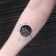 Cool Unique Galaxy Space Compass Mountain Planet Forearm Tattoo Ideas for Women -  Ideas de tatuajes de antebrazo de montaña para mujeres - www.MyBodiArt.com #tattoos