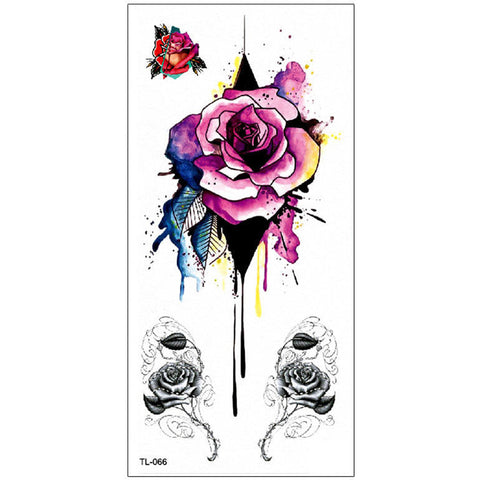 Destiny Melting Watercolor Pink Floral Rose Temporary Tattoo