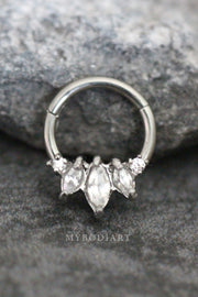 Cute Crystal Teardrop Ear Piercing Jewelry for Cartilage Helix Daith Rook Earring Septum Ring - www.MyBodiArt.com