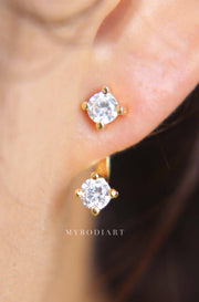 Simple Unique Ear Piercing Ideas for Women - Double Crystal Cubic Zirconia Ear Jacket Earrings Ear Lobe for Teens in Silver or Gold - idées simples de perçage d'oreille pour les femmes - www.MyBodiArt.com #earrings
