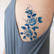 Vintage Watercolor Blue Floral Flower Rib Tattoo Ideas for Women -  Flor azul costilla tatuaje ideas para mujeres - www.MyBodiArt.com