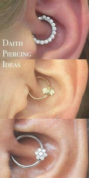 Daith Piercing Earrings Cute Simple Ear Piercing Ideas for Women Crystal Clicker 16g - www.MyBodiArt.com