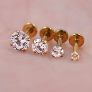 Swarovski Crystal Gold, Rose Gold, Black, Silver  Ear Piercing Jewelry Ideas for Cartilage, Helix, Conch Labret Stud - www.MyBodiA