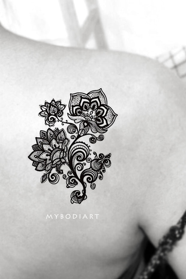 Black Henna Floral Flower Lace Mandala Back Shoulder Tattoo ideas for Women - Ideas de tatuajes en el hombro de la flor negra para mujeres - www.MyBodiArt.com