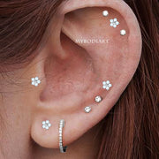 Cute Multiple Opal Flower Cartilage Helix Ear Piercing Jewelry Ideas for Women - idées de bijoux piercing oreille - www.MyBodiArt.com