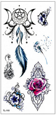 Watercolor Rose Mandala Dreamcatcher Feather Star Moon Temporary Tattoo Ideas for Women - www.MyBodiArt.com #tattoos