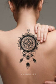 Tribal Black Henna Mandala Dreamcatcher Back Spine Temporary Tattoo Ideas for Women -  Ideas de tatuajes para mujeres - www.MyBodiArt.com