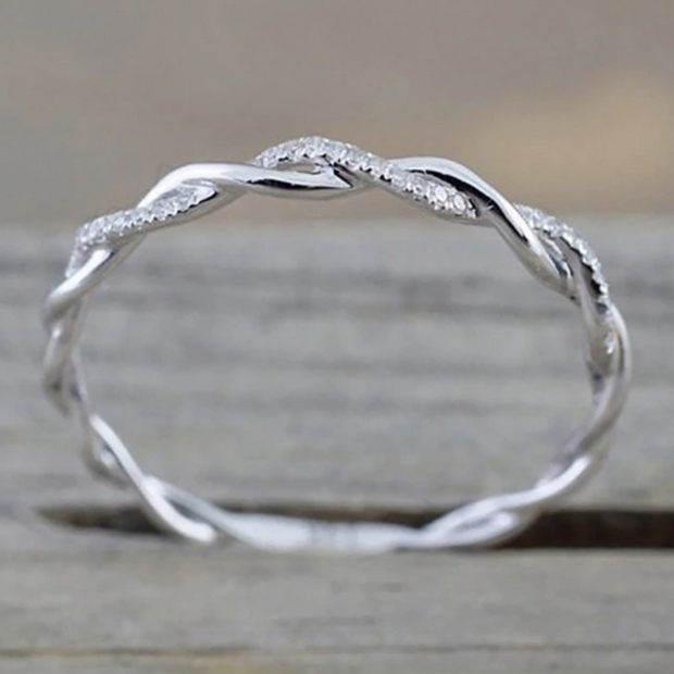 Cute Simple Minimalist Twist Crystal Ring Silver Fashion Jewelry for Women  -  lindos anillos - www.MyBodiArt.com