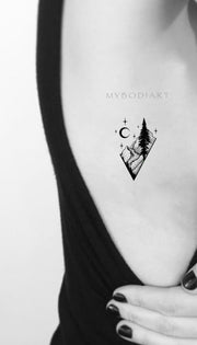 Cool Black Nature Rib Tattoo Ideas for Women Diamond Mountain Tree Moon Tat  -  Ideas de tatuajes naturales para mujeres  -  www.MyBodiArt.com