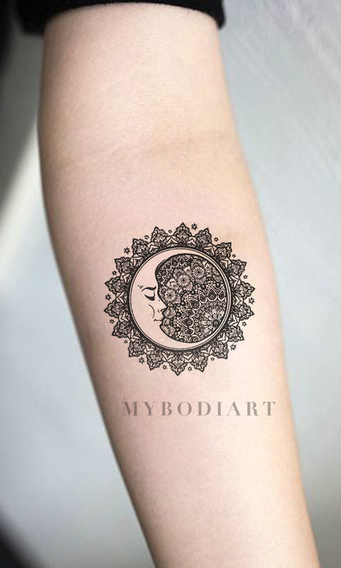 Cool Black Tribal Mandala Forearm Tattoo Ideas for Women - Sacred Geometric Moon Arm Tat for Teen Girls - www.MyBodiArt.com #tattoos