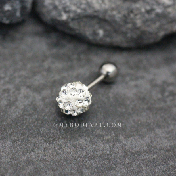Cute Dainty Crystal Ball Earring Studs 16G for Cartilage, Helix, Tragus, Conch - Linda oreja múltiple Piercing Ideas para adolescentes -  www.MyBodiArt.com #earrings