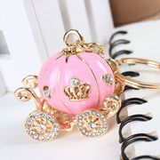 Cute Crystal Pumpkin Carriage Charm Keychain Keyring Key Fob Fashion Accessories Jewelry Purses Bags - www.MyBodiArt.com