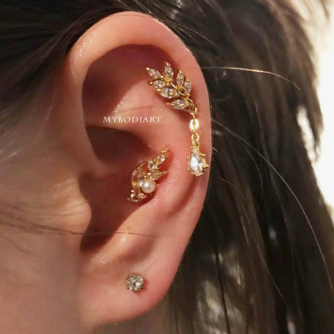 Pretty Cartilage Ear Piercing Jewelry Ideas Curated Crystal Leaf Dangle Earring for Helix - www.MyBodiArt.com