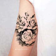 Cute Black Flower Rose Arm Bicep Sleeve Tattoo Ideas for Women -  Ideas de tatuaje de brazo rosa para mujeres - www.MyBodiArt