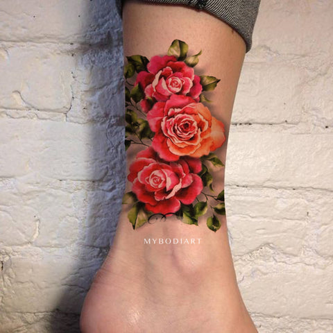 Vintage Rose Watercolor Floral Flower Ankle Leg Tattoo Ideas for Women -  Ideas de tatuaje vintage rosa tobillo para mujeres - www.MyBodiArt.com