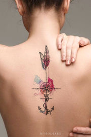 Unique Watercolor Anchor Feather Compass Back Tattoo Ideas for Women -  Ideas hermosas del tatuaje de la pluma para las mujeres - www.MyBodiArt.com #tattoos