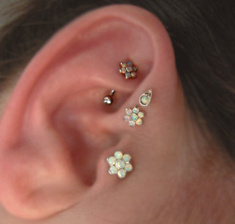 Opal Flower Tragus Earring - Triple Forward Helix Studs - Conch, Rook, Cartilage, Helix - Cute and Unique Boho Multiple Ear Piercing Ideas at MyBodiArt.com