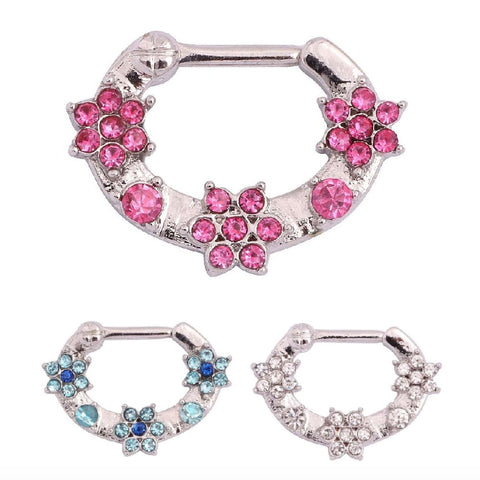 Crystal Flower Septum Clicker Ring Fashion Piercing Jewelry Ideas for Women in Silver 16G Pink Blue Clear Crystals - www.MyBodiArt.com