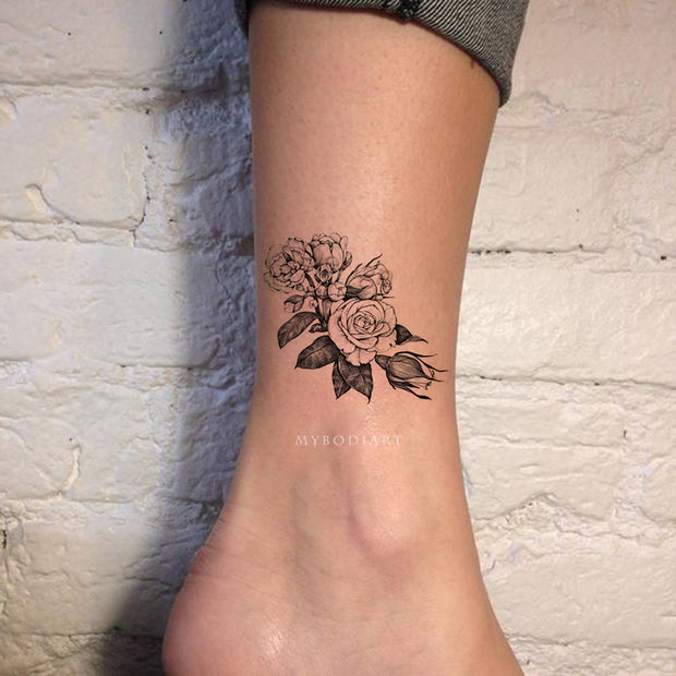 Small Vintage Black Rose Outline Ankle Floral Flower Temporary Tattoo Ideas for Women - Pequeño tatuaje de tobillo rosa para mujer - www.MyBodiArt.com