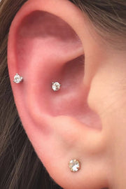 Cute Minimalist Ear Piercing Ideas for Teens for Women Snug Curved Barbell - www.MyBodiArt.com