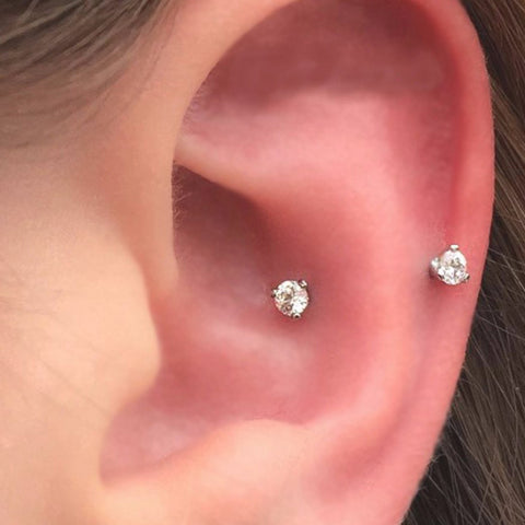 Cute Snug Ear Piercing Jewelry Ideas for Women Swarovski Crystal Curved Barbell Earring -  lindas ideas para perforar orejas - www.MyBodiArt.com