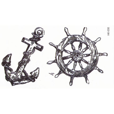 Small Black Anchor and Rudder Temporary Tattoo Ideas for