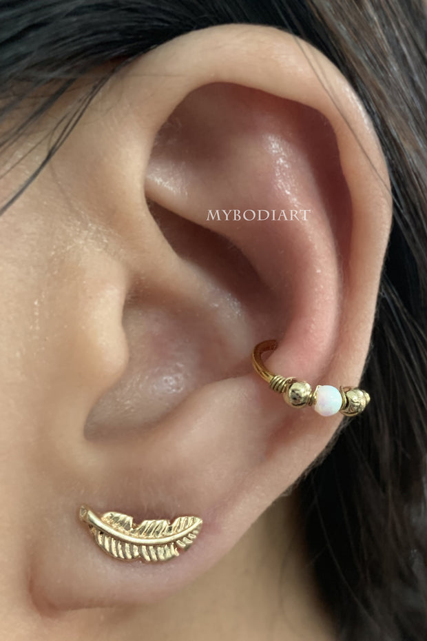 Cute Multiple Ear Piercing Jewelry Ideas for Women - Gold Opal Earring Hoop for Conch, Cartilage, Helix, Tragus - www.MyBodiArt.com