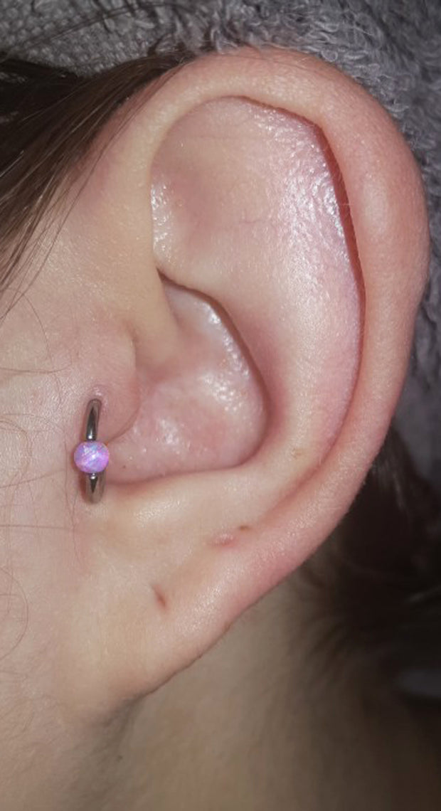 Simple Small Ear Piercing Ideas at MyBodiArt.com - Purple Tragus Ring Hoop Earring 16G